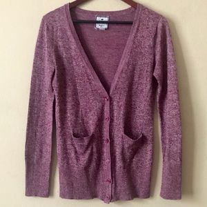 POOF EXCELLENCE Purple Heather Cardigan